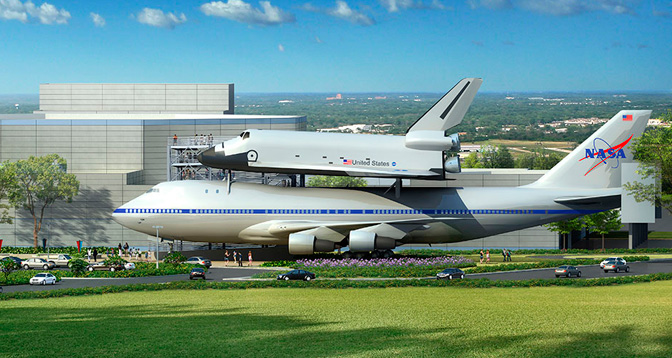 This artist's concept portrays the space shuttle mockup and NASA's Shuttle Carrier Aircraft 905 exhibit from the left side, in front of the planned exhibit complex to be built at the Space Center Houston visitor center.