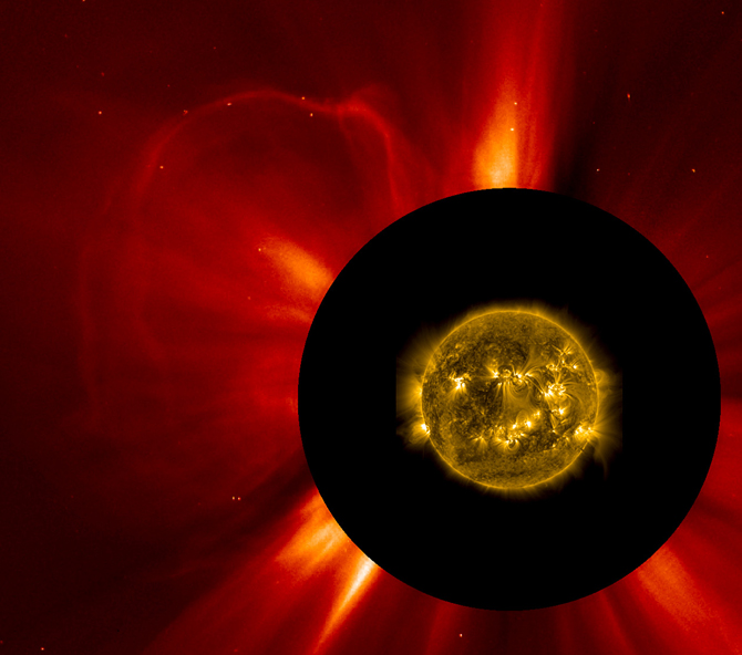 A combined view from two NASA satellites of the coronal mass ejection that occurred on May 17, 2013, at 5:36 EDT.