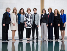 From left, astronauts Pam Melroy; Kay Hire; Cady Coleman; Kathy Sullivan; Tam O'Shaughnessy, Sally Ride's life partner and chair, board of directors of Sally Ride Science; astronauts Bonnie Dunbar; Sandy Magnus; Julie Payette; and Ellen Ochoa, pose for a photograph.