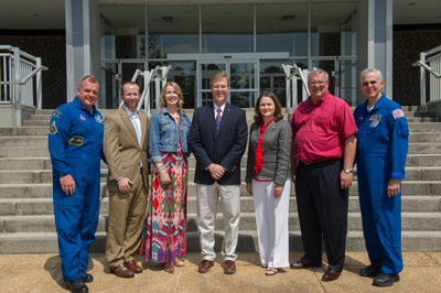 Astronauts T.J. Creamer, far left, and Lee Morin, far right, along with Marshall Deputy Director Teresa Vanhooser, honored 19 team members with Silver Snoopy awards on May 16. The honorees are, from left, Brett M. Eckley, Michelle J. Donatelli, Ralph D. Heusinger, Sharal B Huegele and Allan K. Layne