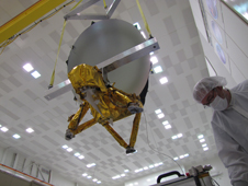 JPL technicians perform a practice run of the mechanical integration sequence that will be used to mate the Jason-3 spacecraft's Advanced Microwave Radiometer instrument to the Jason-3 satellite