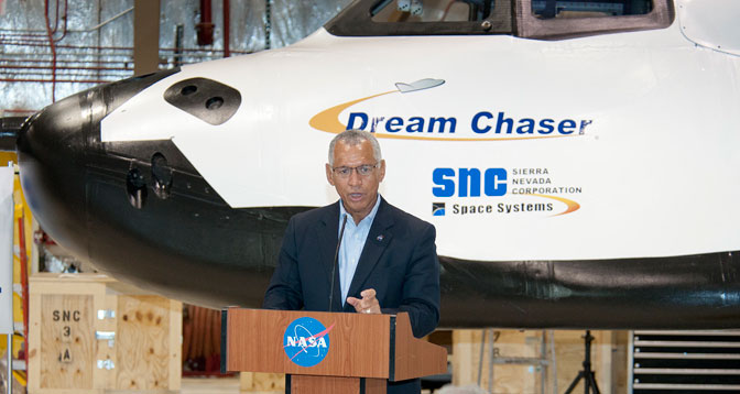 NASA Administrator Charlie Bolden discusses the role and capabilities of Sierra Nevada Corporation (SNC) Space Systems' Dream Chaser flight test vehicle for eventual transport of astronauts to and from the International Space Station.