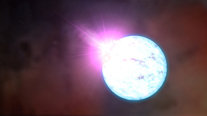 artist's rendering of an outburst on an ultra-magnetic neutron star, also called a magnetar