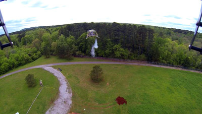 The Mighty Eagle is caught in mid-flight by the camera mounted on the Quad-Copter.