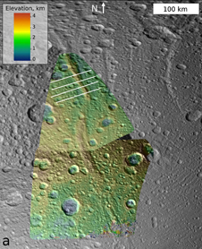 Topography of a mountain known as Janiculum Dorsa on the Saturnian moon Dione
