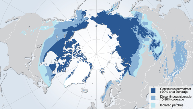 Permafrost zones occupy nearly a quarter of the exposed land area of the Northern Hemisphere