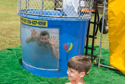Dan Schumacher, manager of Marshall's Science & Technology Office, was among the hardy group of center leaders who volunteered to brave the dunking tank during the event.