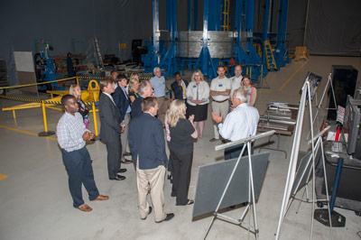 Tim Vaughn of the Materials & Processes Laboratory at NASA's Marshall Space Flight Center spoke to the Tennessee Valley Government and Valley Relations Congressional group during a tour of Marshall on June 5.