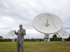 At NASA's Kennedy Space Center in Florida, Robert Lightfoot, NASA associate director, talks to members of the media at the Ka Band Objects Observation and Monitoring, or KaBOOM, testbed antenna array site during a tour of Kennedy facilities.