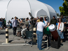 Amateur astronomers brought more than a dozen telescopes with solar viewing filters to NASA Ames Research Center on June 5, 2012 to view Venus cross in front of, or transit, the sun. Credit: NASA Ames/Eric James
