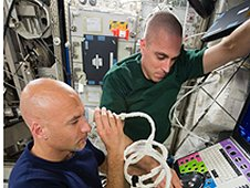 The ocular ultrasound being performed aboard the International Space Station is an innovation similar to ones that can result from awards granted via the Small Business Innovation Research Program at NASA. (NASA)