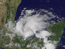 GOES image of North America showing Tropical Storm Barry