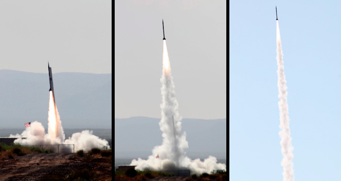 This collage shows the UP Aerospace SpaceLoft 7 reusable sounding rocket shooting skyward from its launch tower at Spaceport America in New Mexico on June 21. SpaceLoft 7 carried seven space-technology experiments into an almost weightless space-relevant environment.