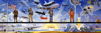 A panoramic mural commissioned by NASA to depict highlights of the first century of flight