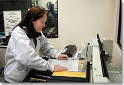 Technician at engraving station