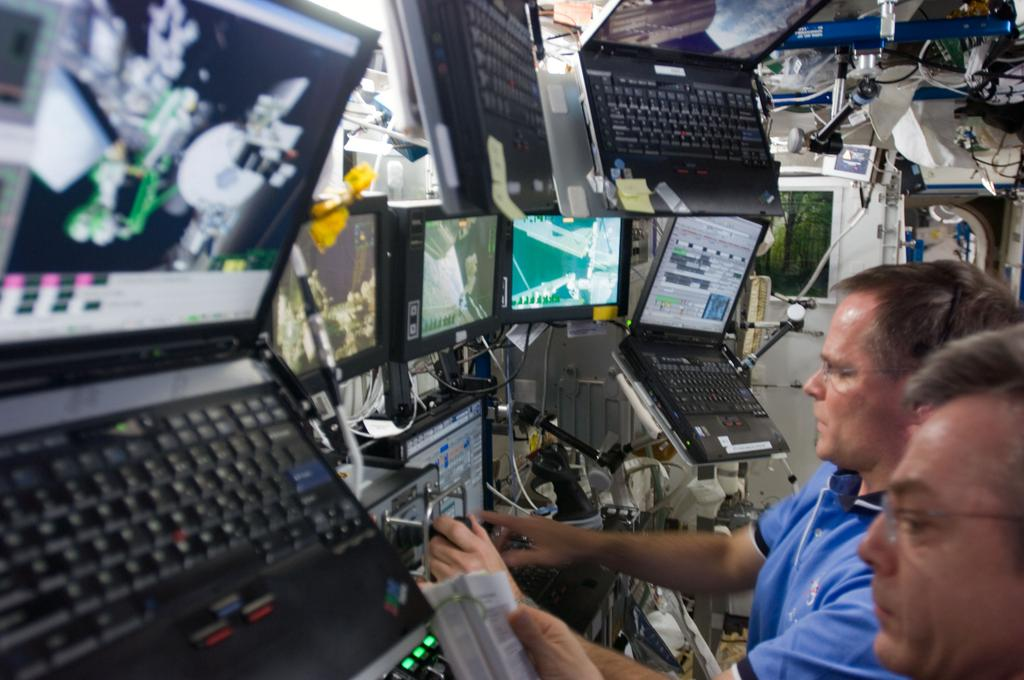 flat screen monitors on ISS