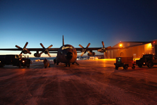 NASA's C-130 research aircraft on the ramp at Thule Air Base in Greenland.