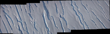 Crevasses in the MacAyeal Ice Stream on Antarctica's Siple Coast east of the Ross Ice Shelf captured by the Digital Mapping System camera aboard NASA's P-3B.
