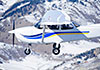 plane in snow-covered mountains