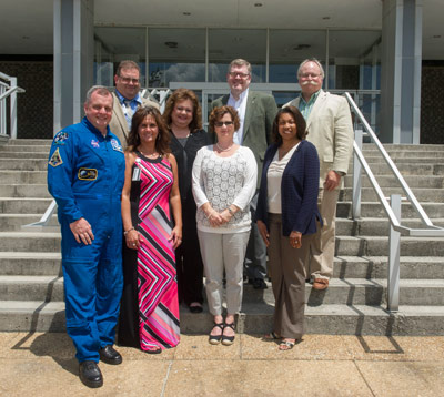 From left, first row, astronaut T.J. Creamer; and honorees Dana W. Tipton, Mission Support & Integration Office;  Jennifer L. Romine, Office of the Chief Financial Officer; Cassandra Pitts, Office of Human Capital; second row, Deborah G. Swafford, Protective Services Office; third row, David A. Falconer, Science & Research Office; Richard L. Smith, Office of Strategic Analysis & Communications; and Burgess F. Howell, Science and Research Office.