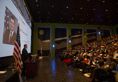Marshall Center Director Patrick Scheuermann welcomes more than 350 guests to the National Network for Manufacturing Innovation workshop Jan. 16 at the U.S. Space & Rocket Center.