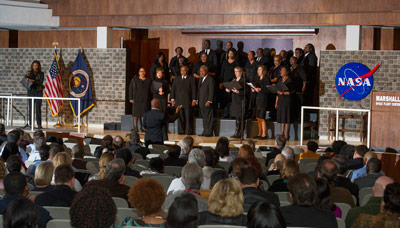 "The Voices of Marshall performed during the Black History Month event, singing ""Lift Every Voice and Sing"" and ""Sevenfold Amen."""