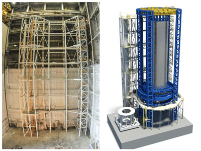 At left, the foundation has been completed, and tooling structure built, on the Vertical Assembly Center.