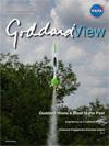 Goddard View cover showing model rocket launch