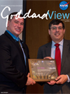 Goddard View Cover - Chris Scolese (left) and Medal of Honor recipient Kyle White