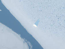 A lone iceberg sitting in thin sea ice seen from the NASA P-3 on Mar. 28, 2014.