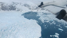 Icebergs in the fjord in front of Helheim Glacier seen during the Apr. 12, 2014, IceBridge flight.