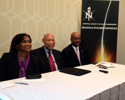 Bobby Watkins, right, director of NASA's Marshall Space Flight Center's Office of Strategic Analysis & Communications, was invited to speak at the recent National Society of Black Engineers' Aerospace Systems Conference.