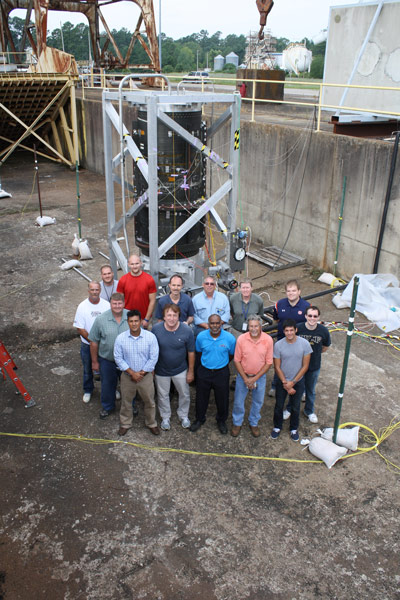 The Marshall team that conducted the testing with the composite cryogenic tank, gathering before the test.