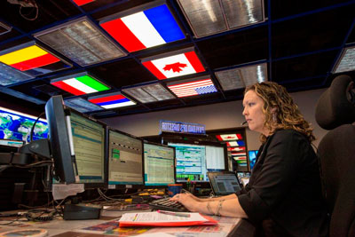 Stephanie Dudley works a shift as an International Space Station payload operations director in the Payload Operations Integration Center at the Marshall Space Flight Center.