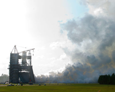 On Aug. 15, NASA conducted a test of the next-generation J-2X rocket engine on the A-1 test stand at NASA's Stennis Space Center.