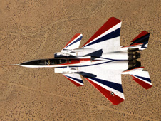 Red, white and blue F-15B aircraft