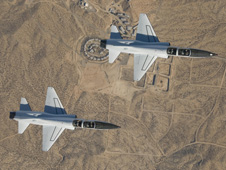 Two T-38 chase planes