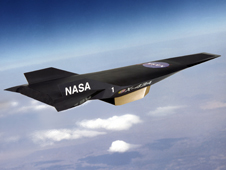 Dark-colored X-43 aircraft against a backdrop of small clouds and earth