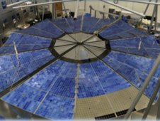 A deployment test of the MegaFlex solar array, designed by ATK Aerospace Systems to fold out like a fan. The design is one of two concepts now in consideration as part of NASA's Solar Electric Propulsion effort. (Image: ATK Aerospace)