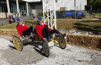 "Rounding out two decades of inventive student engineering, the 20th annual NASA Great Moonbuggy Race brought 89 teams of high school, college and university students to the U.S. Space & Rocket Center April 26-27 to race lightweight, human-powered ""moonbuggies"" of their own design."