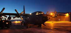 The C-130 aircraft being fueled and prepared for a day of science flights.