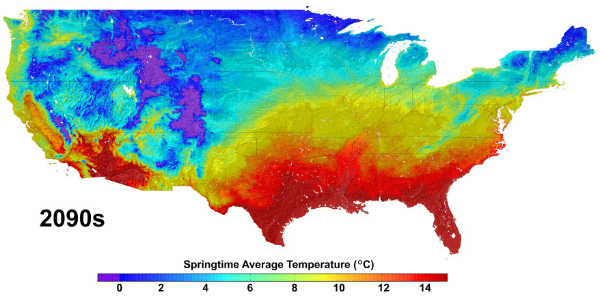 Average Springtime Temperatures in the 2090s