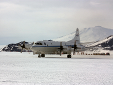 NASA's P-3B in front of Mount Erebus in Antarctica.