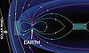 Graphic of MMS spacecraft in Earth's magnetic field.