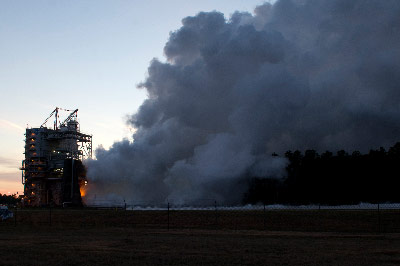 NASA continued its steady progress toward a return to deep-space missions with the hot-fire test of a new J-2X engine at NASA's Stennis Space Center on Feb. 15.
