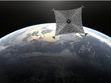 Artist concept of a solar sail in orbit