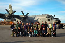 The ARISE research team lines up in front of the NASA C-130 at Eielson Air Force Base, Alaska