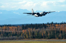 NASA's C-130 takes off from Eielson Air Force Base, Alaska.