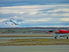 NASA's DC-8 taking off from the Punta Arenas, Chile, airport on Oct. 16.