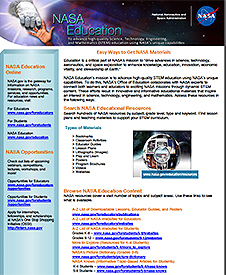 Front of the Easy Ways to Get NASA Education Materials flier